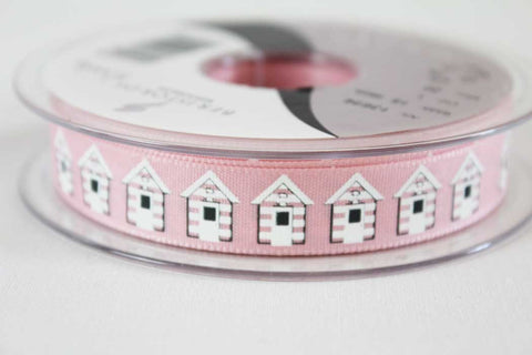 15mm Pink Beach Huts Ribbon