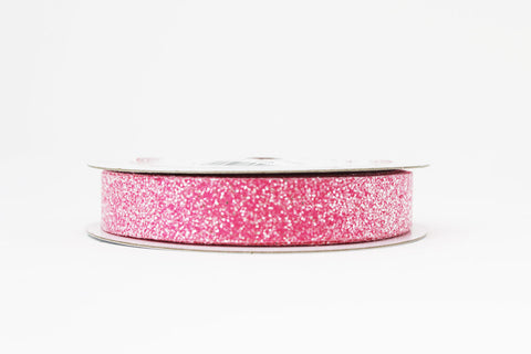 15mm Pink Crystal Glitter Ribbon
