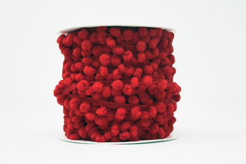 10mm Pom Pom Trim Red