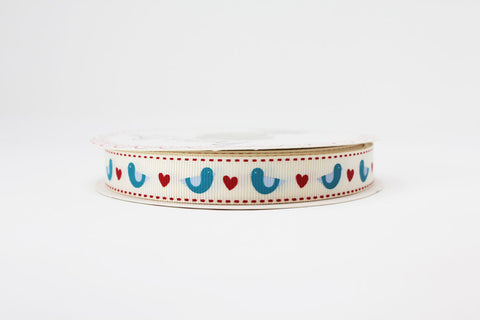 16mm Blue Birds and Hearts Printed Ribbon
