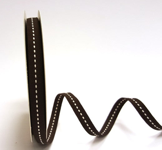 9mm Centre Stitch Ribbon - Brown