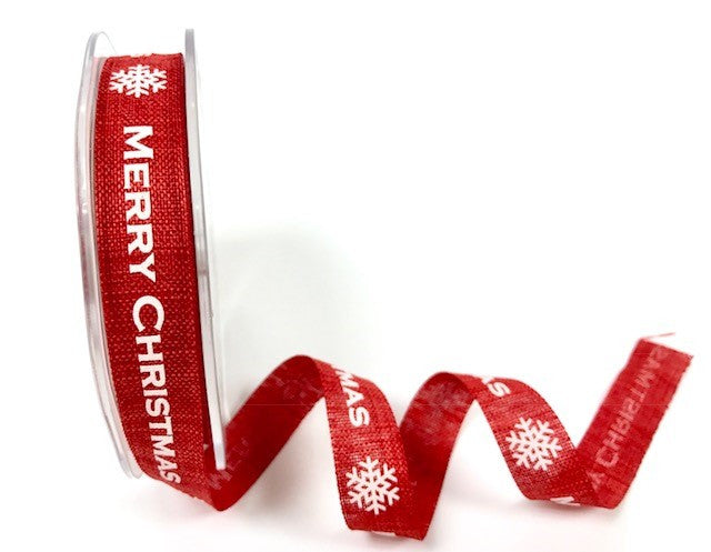 15mm Faux Linen Red Merry Christmas Ribbon