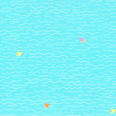 Michael Miller Sheep on Shore - Fish and Dip Aqua - 100% Cotton Fabric