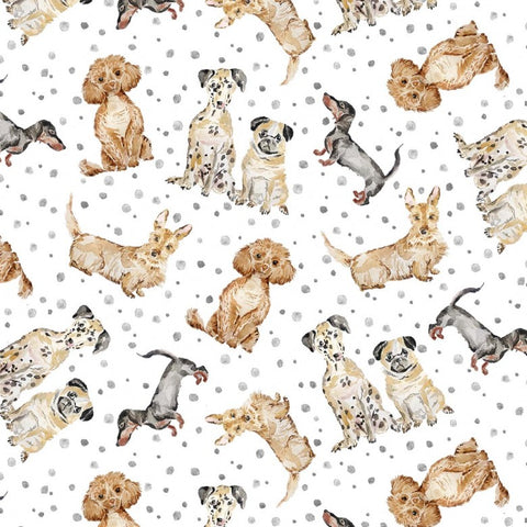 Michael Miller Precious Pets - Paws Up! Grey - 100% Cotton Fabric