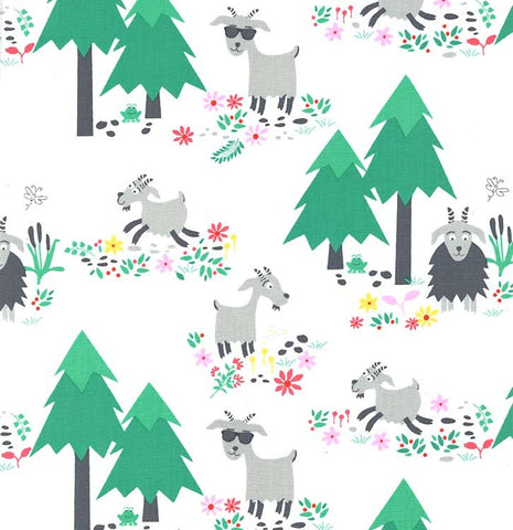 Michael Miller Goat Island - Marine Isle White - 100% Cotton Fabric