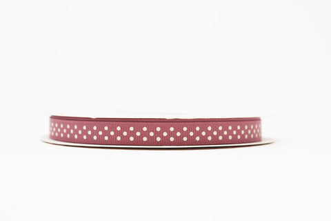9mm Polka Dot Ribbon - Antique Rose