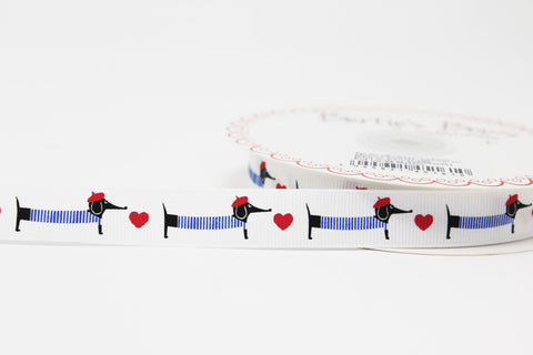 16mm French Sausage Dogs Ribbon