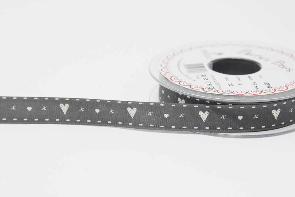 15mm Grey Heart Ribbon