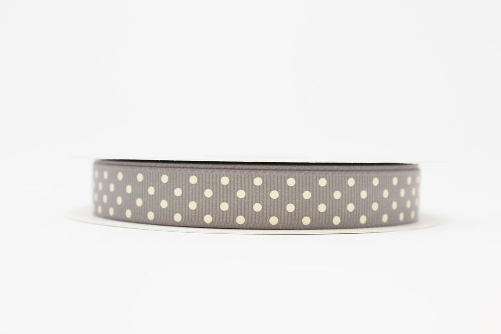 16mm Grey Polka Dot Ribbon