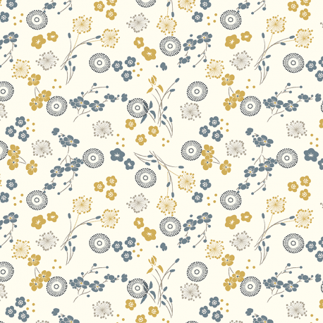 Indigo Fabrics - Hanako Cream - 100% Cotton Fabric