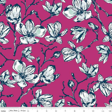 Riley Blake Garden Party - Magnolias Fuchsia - 100% Cotton Fabric