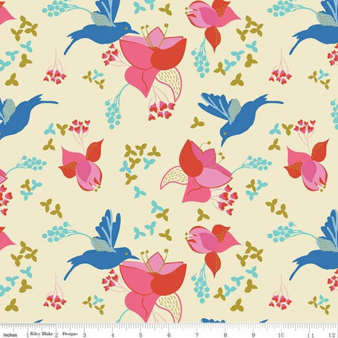 Riley Blake Sweet Honey Kisses - Main Cream (metallic) - 100% Cotton Fabric