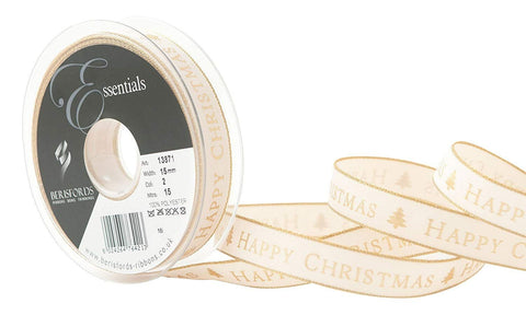 15mm Gold Happy Christmas Ribbon