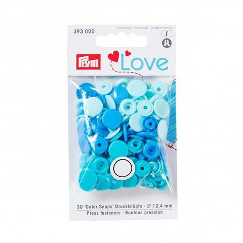 Prym Plastic Colour Snaps Press Fasteners - Round Aqua Mix