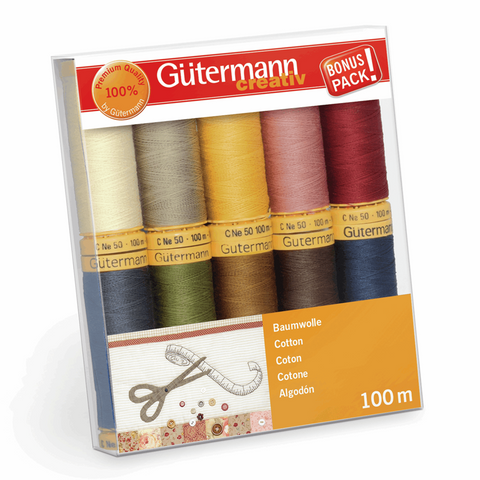 Gutermann Natural Cotton 50 Thread Set 10pk - Basics