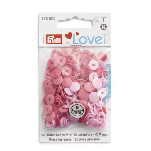 Prym Mini Plastic Colour Snaps Press Fasteners - Pale Pink Mix