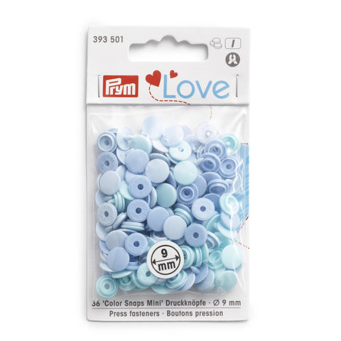 Prym Mini Plastic Colour Snaps Press Fasteners - Light Blue Mix