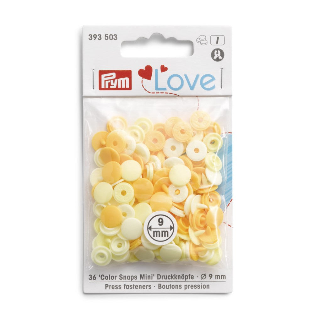 Prym Mini Plastic Colour Snaps Press Fasteners - Yellow Mix