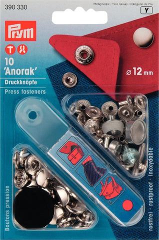 Prym 12mm Silver 'Anorak' Metal Press Fasteners with Tool