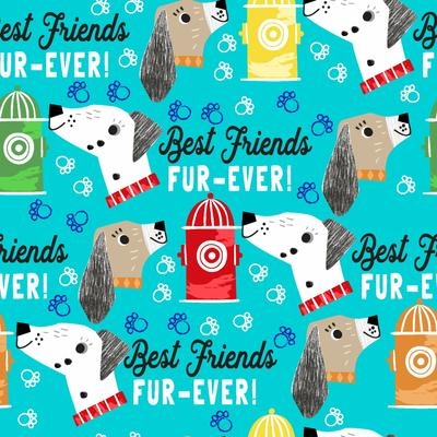 3 Wishes Best Friends Fur Ever - Words Turquoise  - 100% Cotton Fabric