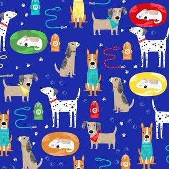 3 Wishes Best Friends Fur Ever - Dogs Royal - 100% Cotton Fabric
