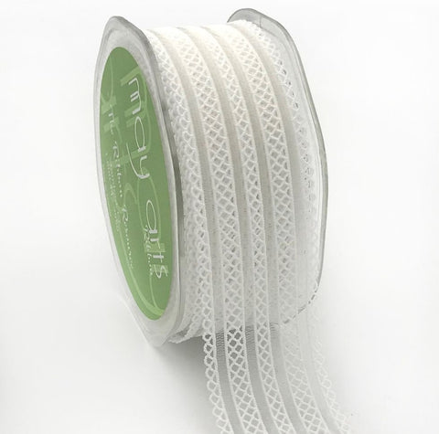 32mm White Elastic Lace Ribbon