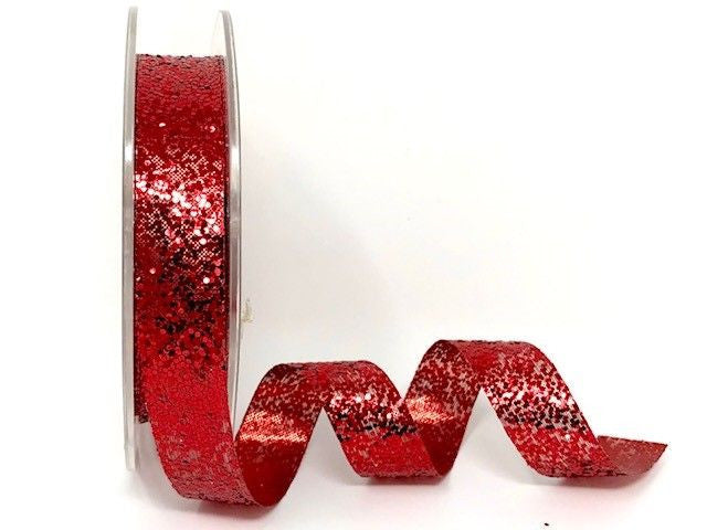 15mm Red Crystal Glitter Ribbon