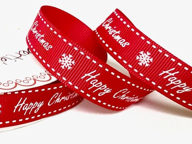 15mm Happy Christmas Ribbon