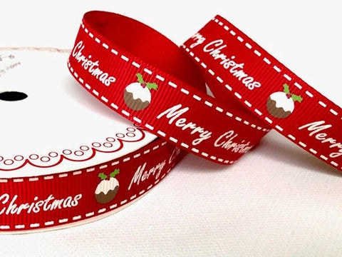 16mm Merry Christmas Puddings Ribbon