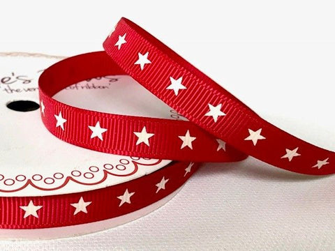 Red Star Grosgrain Ribbon