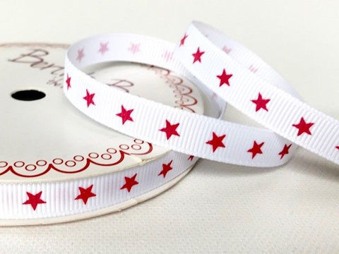 9mm White Star Grosgrain Ribbon