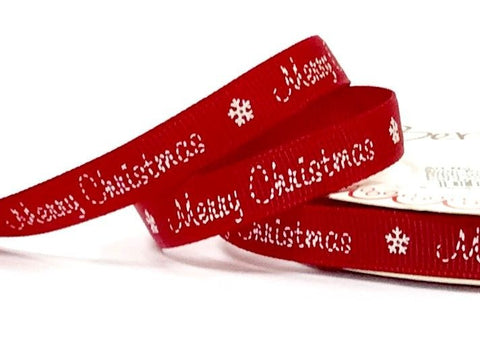 9mm Red Stitched Merry Christmas Ribbon