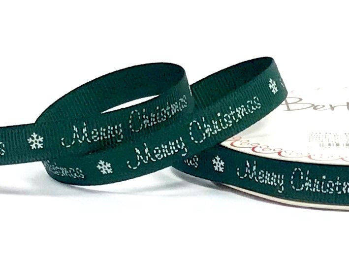 9mm Green Stitched Merry Christmas Ribbon
