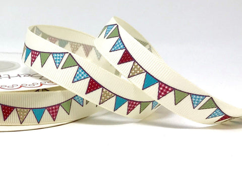 16mm Vintage Bunting Printed Ribbon