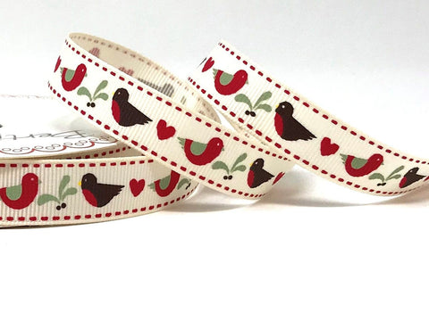 16mm Robin and Mistletoe Printed Ribbon