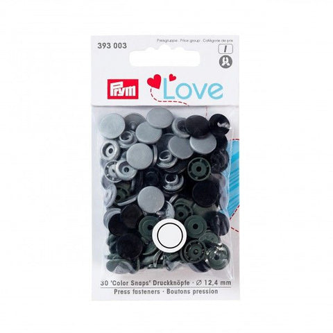 Prym Plastic Colour Snaps Press Fasteners - Round Grey Mix