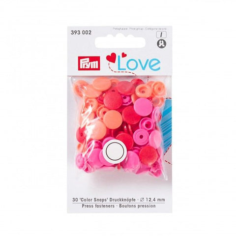Prym Plastic Colour Snaps Press Fasteners - Round Red/Pink Mix