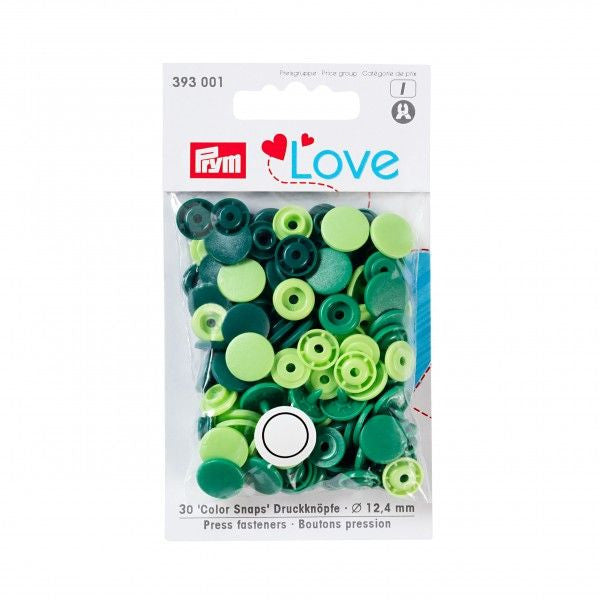 Prym Plastic Colour Snaps Press Fasteners - Round Green Mix