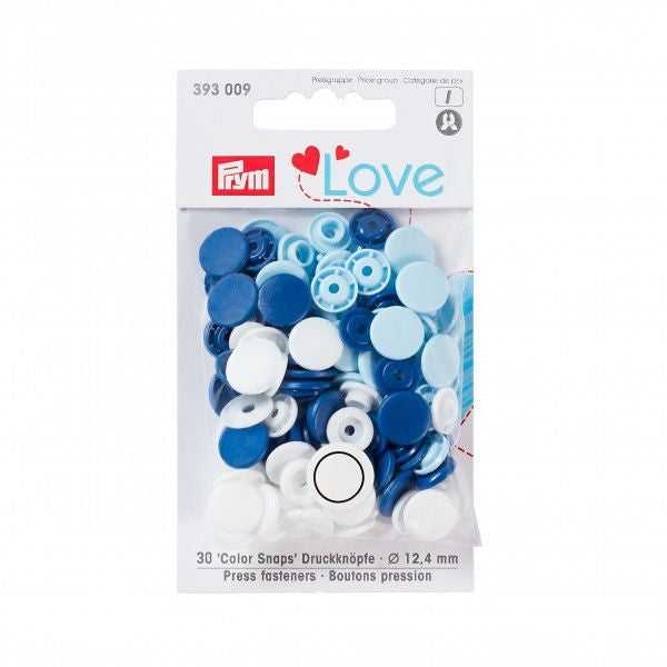 Prym Plastic Colour Snaps Press Fasteners - Round Blue Mix