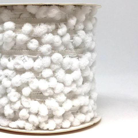 10mm Pom Pom Trim - White