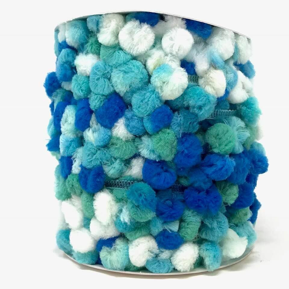 15mm Pom Pom Trim Blue Ombre