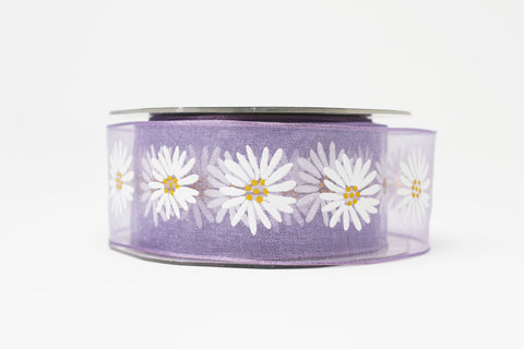 38mm Daisy Lavender Sheer Ribbon