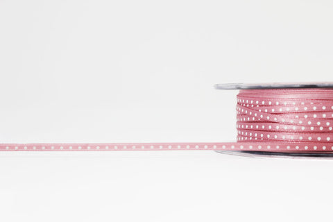 3mm Pink Polka Dot Satin Ribbon