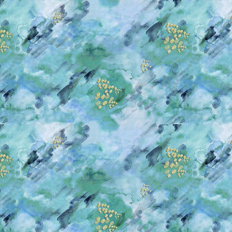 3 Wishes Metallic Fusion - Granite Blue (metallic) - 100% Cotton Fabric