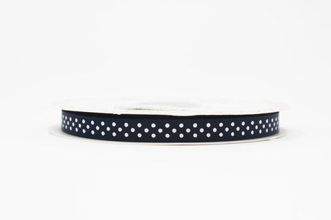 9mm Navy Polka Dot Ribbon