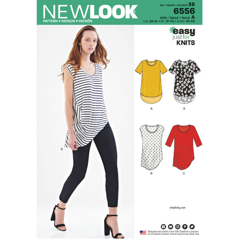 New Look Sewing Pattern 6556 - Women's Easy Knit Tops
