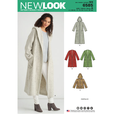 New Look Sewing Pattern 6585 - Misses' Coat with Hood