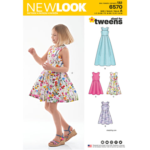 New Look Sewing Pattern 6570 - Girl's Dress in Two Lengths