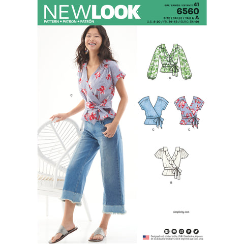 New Look Sewing Pattern 6560 - Women's Wrap Tops