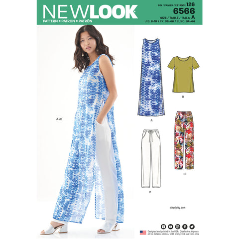 New Look Sewing Pattern 6566 - Women's Tunic, Top and Pants